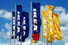 Brooklyn, NY: IKEA Flags Royalty Free Stock Image