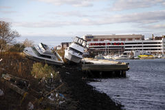 Boats washed ashore in the aftermath of Hurricane Sandy in Brooklyn, NY Stock Image