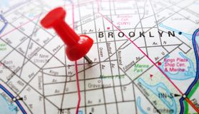 Brooklyn NY. Red tack in map of Brooklyn, New York Royalty Free Stock Photo