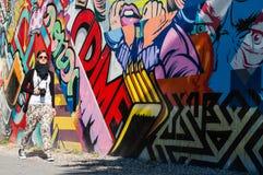 BROOKLYN, NYC, E.U., o 1º de outubro de 2013: Arte da rua em Brooklyn. Hipst Imagens de Stock Royalty Free