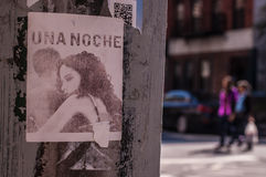 BROOKLYN, NYC, US, October 1 2013: Street art in Brooklyn. Drawing of a girl and a man in black an white with 'Una Noche', one ni stock photography