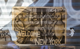 BROOKLYN, NYC, US, October 1 2013: Street art in Brooklyn. Old p Royalty Free Stock Photo