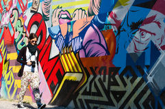 BROOKLYN, NYC, US, am 1. Oktober 2013: Straßenkunst in Brooklyn. Hipst lizenzfreies stockbild