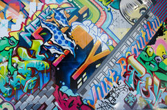 BROOKLYN NYC, USA, Oktober 1 2013: Gatakonst i Brooklyn vägg Fotografering för Bildbyråer