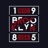 Brooklyn, NYC, usa typografia dla koszulka projekta Sport grafika dla odzieży i sportowy odziewają, trójnika koszulowy druk Fotografia Royalty Free