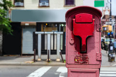 Brooklyn old Fire Alarm in red in Greenpoint NY Royalty Free Stock Image