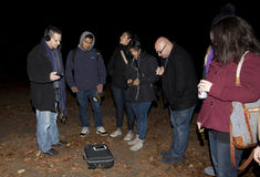 Brooklyn Paranormal Society during investigation Stock Image