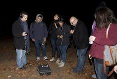 Brooklyn Paranormal Society during investigation. HUNTINGTON, NEW YORK, USA - NOVEMBER 14: Members of the Brooklyn Paranormal Society of NY during their stock image