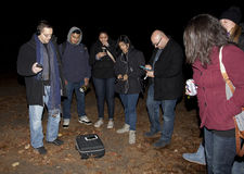 Brooklyn Paranormal Society during investigation. HUNTINGTON, NEW YORK, USA - NOVEMBER 14: Members of the Brooklyn Paranormal Society of NY during their royalty free stock images