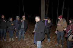 Brooklyn Paranormal Society during investigation. HUNTINGTON, NEW YORK, USA - NOVEMBER 14, 2015: Members of the Brooklyn Paranormal Society of NY during their royalty free stock images