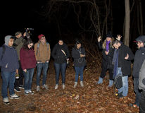 Brooklyn Paranormal Society during investigation. HUNTINGTON, NEW YORK, USA - NOVEMBER 14: Stacy the blonde leads members of the Brooklyn Paranormal Society of royalty free stock images