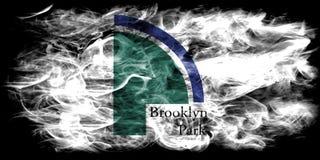 Brooklyn Parkuje miasto dymu flaga, Minnestoa stan, Stany Zjednoczone Ameryka Obraz Royalty Free