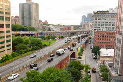 Brooklyn Queens Expy Street I-278 in New York. New York City, USA - July 12, 2015: Highway traffic on the Brooklyn Queens Expy Street I-278. The road runs 35.62 Royalty Free Stock Image