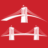 Brooklyn_red. New York symbol - Brooklyn Bridge - vector illustration Stock Photos
