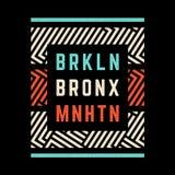 Brooklyn retro tryck stock illustrationer