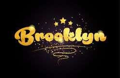 brooklyn star golden color word text logo icon royalty free stock photography