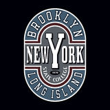 Brooklyn State College T-shirt Typography Graphics. New York Brooklyn State College T-shirt Typography Graphics, Vector Illustration Royalty Free Stock Photos