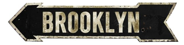Brooklyn Street Sign Grunge Arrow. Brooklyn New York City Street Sign Vintage Arrow Grunge Rustic Metal Embossed Road Direction Queens stock images