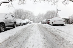 Brooklyn street on a snowy day Royalty Free Stock Photography