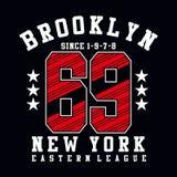 Brooklyn sześćdziesiąt dziewięć sporta typografii projekt royalty ilustracja