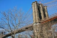 Brooklyn upphängningbro på en knaprig klar dag Royaltyfri Foto