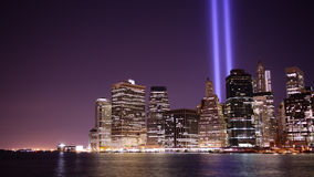 Brooklyn view on memorial towers of light 4k time lapse from new york. City stock footage
