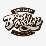 Brooklyn wschodniego wybrzeża pisma literowania Obyczajowy rocznik Wpływający Typograficzny typ etykietka trójnika druku projekt  Obraz Royalty Free