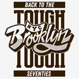 Brooklyn Z powrotem Twardy Obyczajowy rocznik Wpływający lata siedemdziesiąte pisma literowania Typograficzny typ etykietka trójn ilustracja wektor