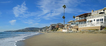 Brooks Street and Oak Street Beach in Laguna Beach, California. Royalty Free Stock Photo
