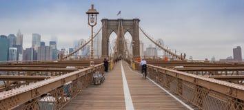 Brookyn桥梁全景在纽约 免版税图库摄影