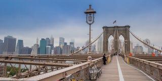 Brookyn桥梁全景在纽约 库存图片