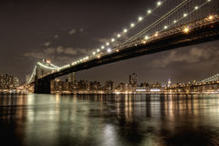 Brookyn Bridge at night Stock Photo