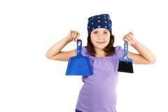 broom девушка dustpan счастливым стоковая фотография