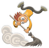 broom подметать более чистой пыли счастливый Стоковые Изображения RF