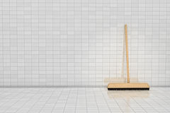 Broom. On tile wall in 3D Royalty Free Stock Photography