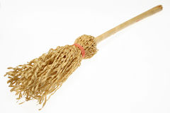 Broom. Close - up of straw broom royalty free stock image