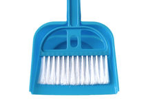 Broom and Blue Dustpan  on white Stock Photos