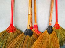 Broom.  with bristles traditionally made using  corn · Sorghum-made s with long handles as well as short handles Royalty Free Stock Image
