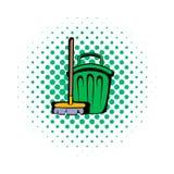 Broom and bucket comics icon Stock Image