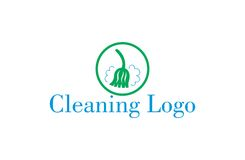 Broom cleaning logo. A logo that can be used for a company that offers cleaning and hygiene services. It can be sewn on worker uniforms and be used as a badge Stock Images