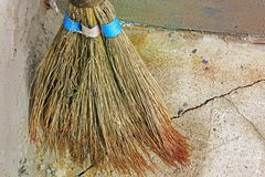 Broom for cleaning. Old broom stock photography