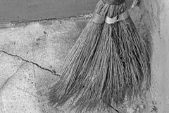 Broom for cleaning. Old broom stock photos