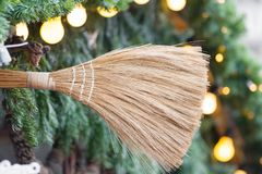 Broom close-up with pine branches Stock Photo