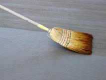Broom on concrete. Broom on fresh sidewalk concrete stock photos