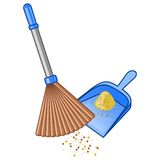 Broom and dustpan royalty free illustration