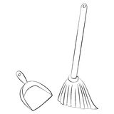 Broom & Dustpan Royalty Free Stock Photography