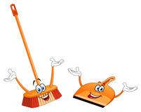 Broom and dustpan cartoon Stock Image