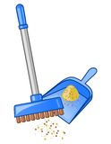 Broom and dustpan stock illustration