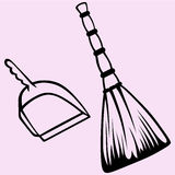 Broom and dustpan vector Royalty Free Stock Image