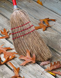 Broom And Fallen Leafs. Old-fashioned jackstraw broom head  surrounded by oak leafs Royalty Free Stock Photo